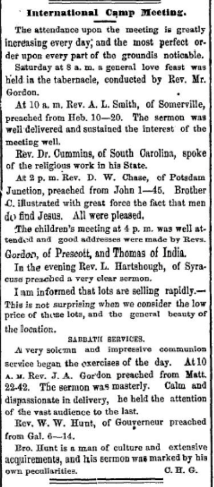 Methodist Camp Meeting at the International Camp Ground later called Terrace Park near Morristown, NY