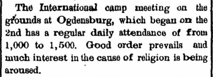 Methodist Camp Meeting at International Camp Ground near Morristown, NY