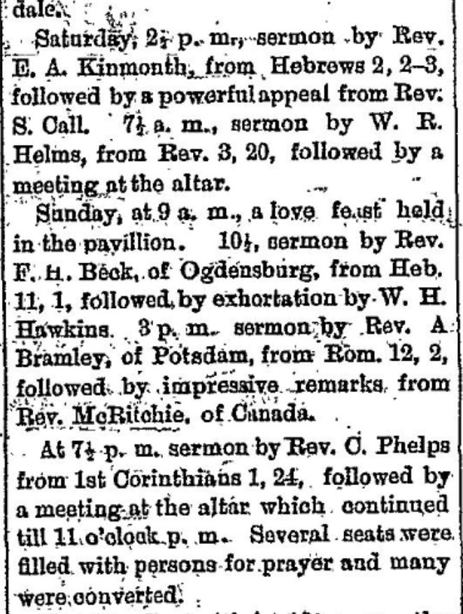 Methodist camp meeting in 1876