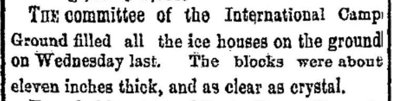 Ice blocks at the Methodist encampment