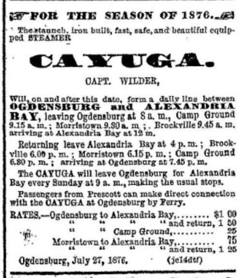 Steamer Cayuga Methodist camp meeting.