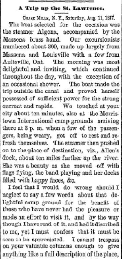 International camp ground Morristown, NY 1877