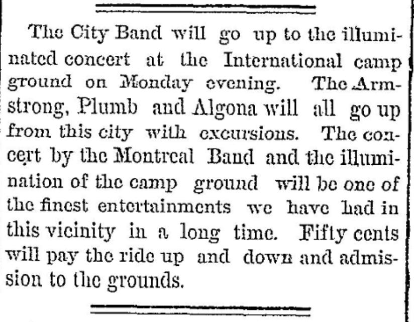 Illumination and concert 1877 near Morristown, NY