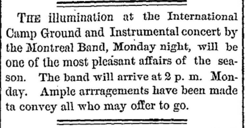 concert and illumination 1877 near Morristown, NY