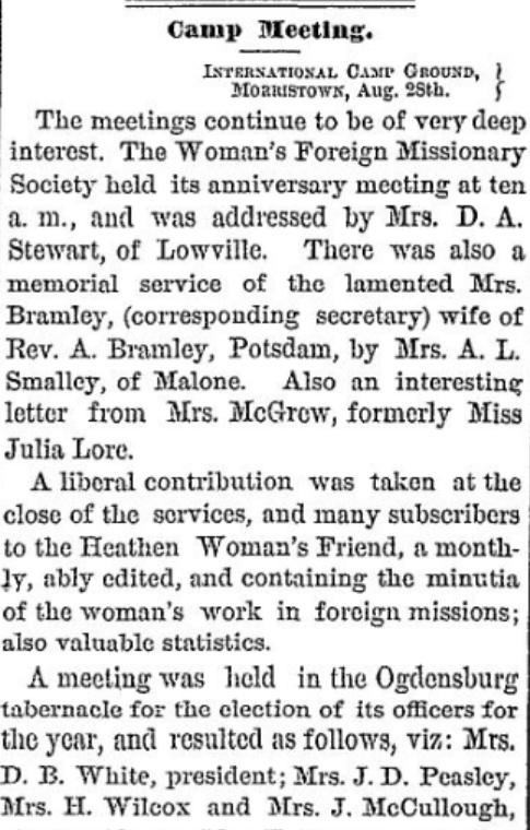 Methodist Camp meeting 1877 morristown, NY